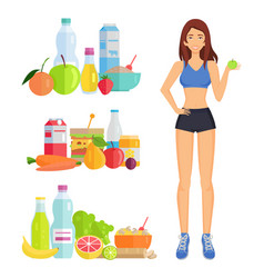 weight loss and healthy food vector image