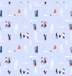 winter time seamless pattern couples and kids vector image