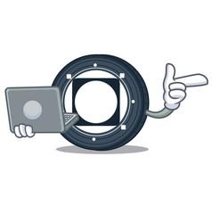 With laptop byteball bytes coin character cartoon vector