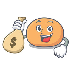 with money bag mochi character cartoon style vector image