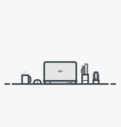 workspace table with laptop vector image