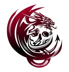 Dragon sitting on a skull tattoo vector image vector image
