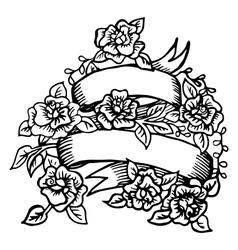Hand-drawn ribbon with roses vector image