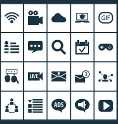 Internet icons set with play gif sticker vector