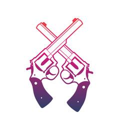 revolvers crossed handguns over white vector image