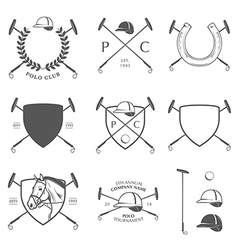 Set of vintage horse polo labels and badges vector