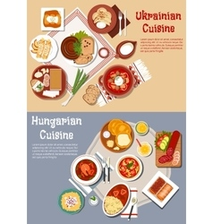 Hearty ukrainian and hungarian dinners flat icon vector image vector image
