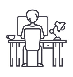 man working on computer on table sitting back vector image