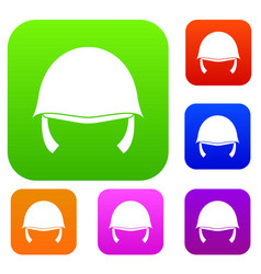 military helmet set collection vector image