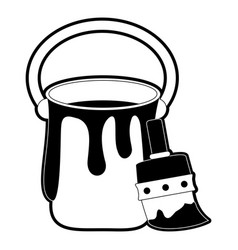 paint bucket and brush vector image