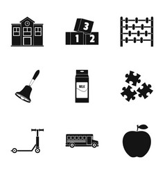primary school icons set simple style vector image