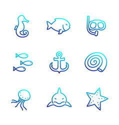 sea line icons isolated over white shark fish vector image vector image
