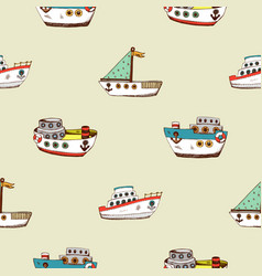 seamless pattern with cartoon ship vector image