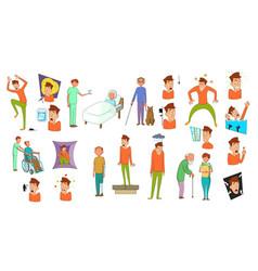 human disease icon set cartoon style vector image