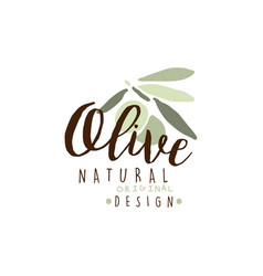 olives hand drawn on a branch logo on a white vector image vector image