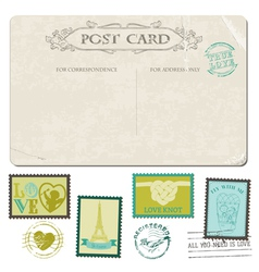 Vintage Postcard and Postage Stamps vector image vector image