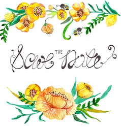 Watercolor yellow and green flowers and bee vector image vector image
