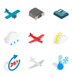 aviation equipment icons set isometric style vector image vector image