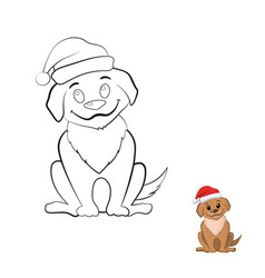 coloring book with puppy in cartoon style vector image vector image
