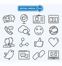 social media and network lines icons vector image
