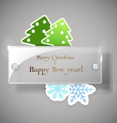 Square glass board with christmas greetings vector