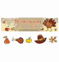 thanksgiving banner and icons vector image vector image