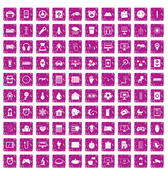100 app icons set grunge pink vector