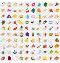 100 culinary icons set isometric 3d style vector image