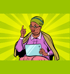 African elderly woman with a tablet vector