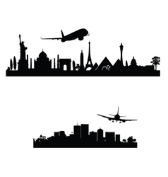 airplane above the city vector image