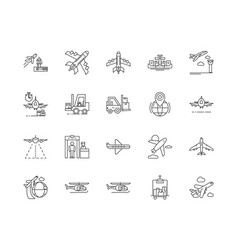 airport line icons signs set outline vector image