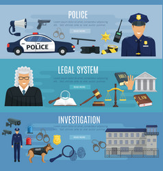 Banners of police and legal system judge vector