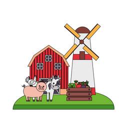 barn windmill animals vegetables farm vector image