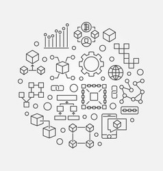 Blockchain round concept line vector