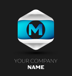 blue letter m logo in the silver-blue hexagonal vector image