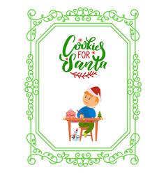 Boy writing letter saint nicholas cookies santa vector