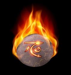 Burning stone with magic rune vector