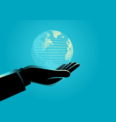 businessman hand holding a digital globe vector image
