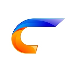 C letter blue and Orange logo design Fast speed vector image