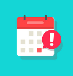 Calendar deadline or event reminder notification vector