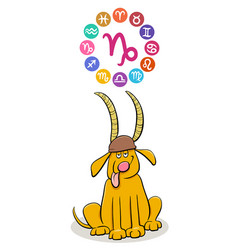 Capricorn zodiac sign with cartoon dog vector