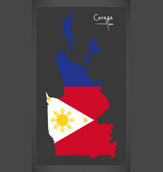 caraga map of the philippines with philippine vector image