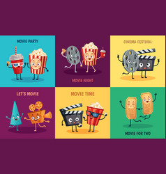 cartoon cinema characters funny popcorn cinema vector image
