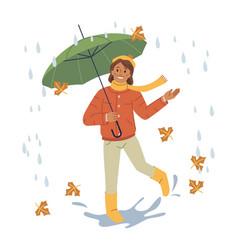 child girl wearing warm clothes walking under rain vector image