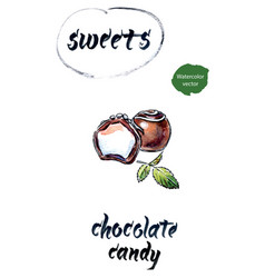 Chocolate candies watercolor vector