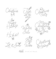 christmas pen line lettering vector image