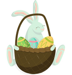 classic easter decor easter rabbit with basket vector image