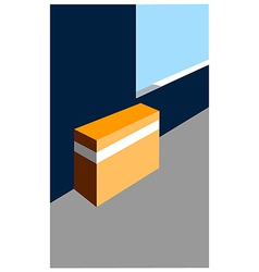 Closed box on floor vector image