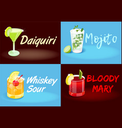 Cocktail set posters vector