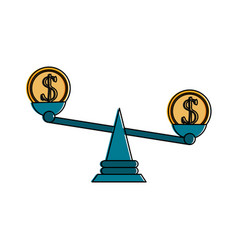 coin on balance scale money icon image vector image